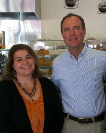 Alison Simard with Rep. Adam Schiff (CA-D)