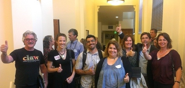 CLAW founders, science advisors and citizen supporters at City Hall celebrate decision to reduce rodenticide use by LA Recreation and Parks Department.