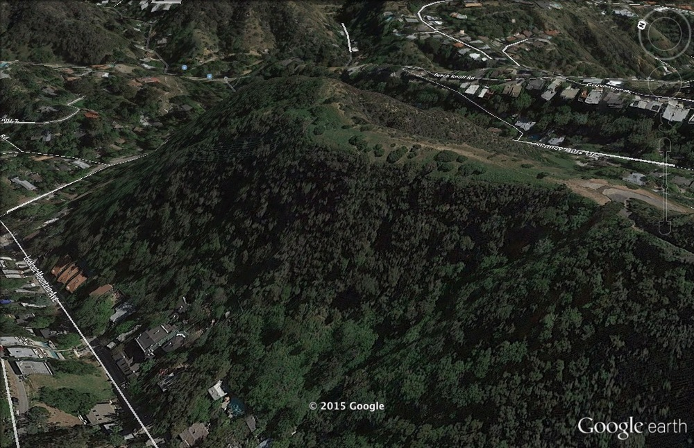 A Google Earth view of the property lying between  Lookout Mountain Avenue  and  Stanley Hills Drive  in historic Laurel Canyon.