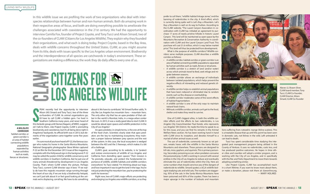Speak Magazine 2017 wildlife issue profiles CLAW.. Click here for entire article.