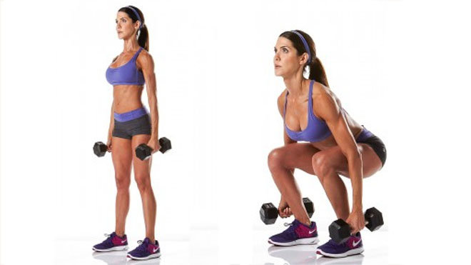 women doing squat with dumbbells for toned legs