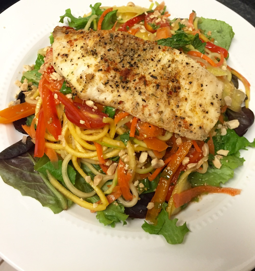 Zucchini Noodle Thai Salad with Tilapia Recipe