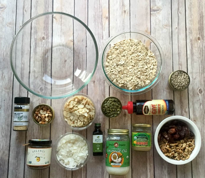 Ingredients for easy and healthy homemade granola