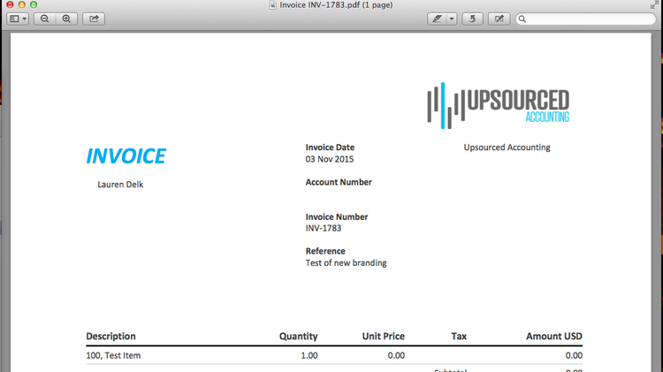 advanced branding on invoices - xero benefits — upsourced accounting, Invoice templates