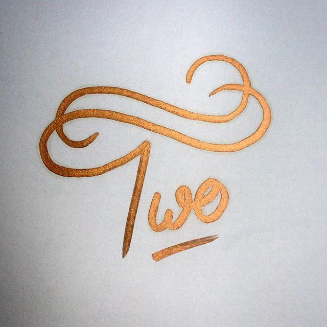 Two #handlettering #lettering #typography #sharpie #pen #bronze #paper #design #letteringartist