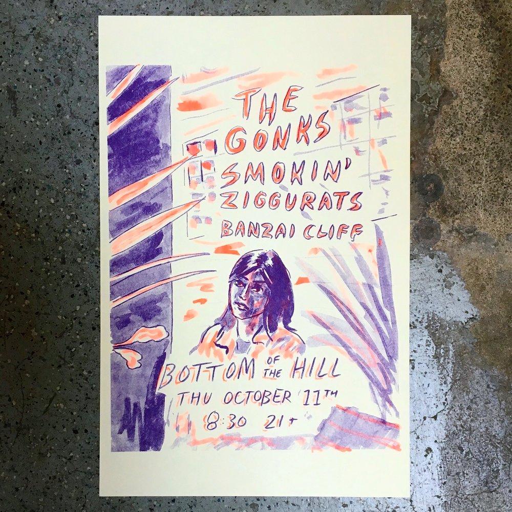Smokin' Ziggurats gig poster, 2018