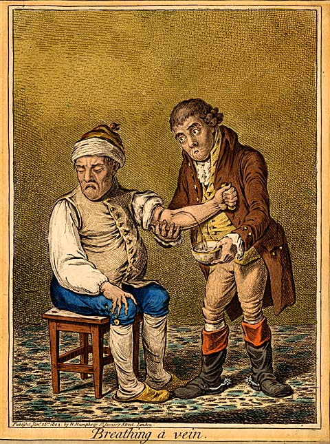 Breathing a Vein .  James Gillray, published by H. Humphrey, St James's Street, London, January 28, 1804. Thomson was adamantly opposed to the popular heroics of bloodletting as practiced by the Regular physicians of his time.