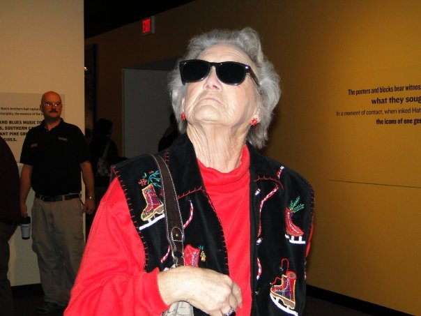 "Grandma being funny and ""cool"" at the Durham Holiday exhibit."