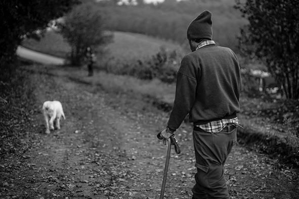 Trifulaio com o seu cão