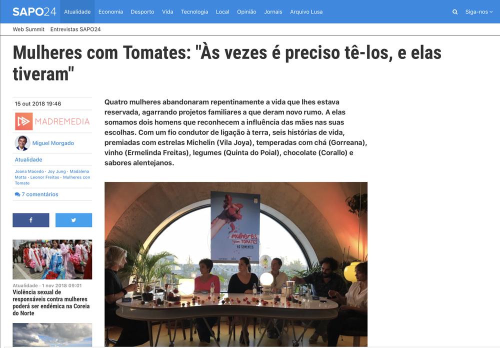 O artigo no Sapo24 pelo jornalista Miguel Morgado