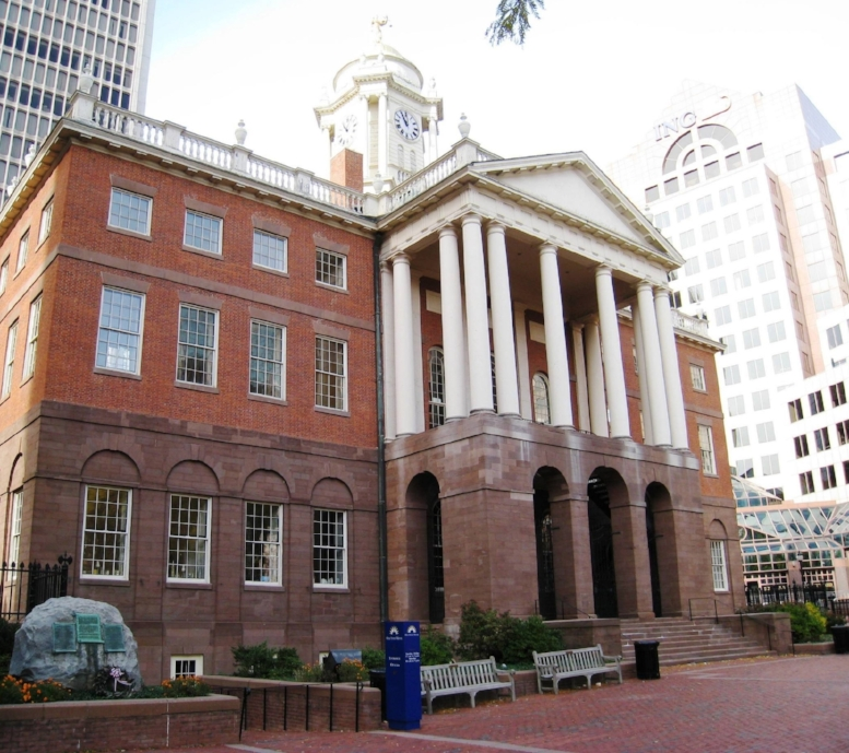 Connecticut's Old State House  with a golden statue of JUSTICE atop - needs some herself!