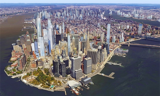 Visualizations of planned and existing structures in Lower Manhattan per DeZeen - innovations site.