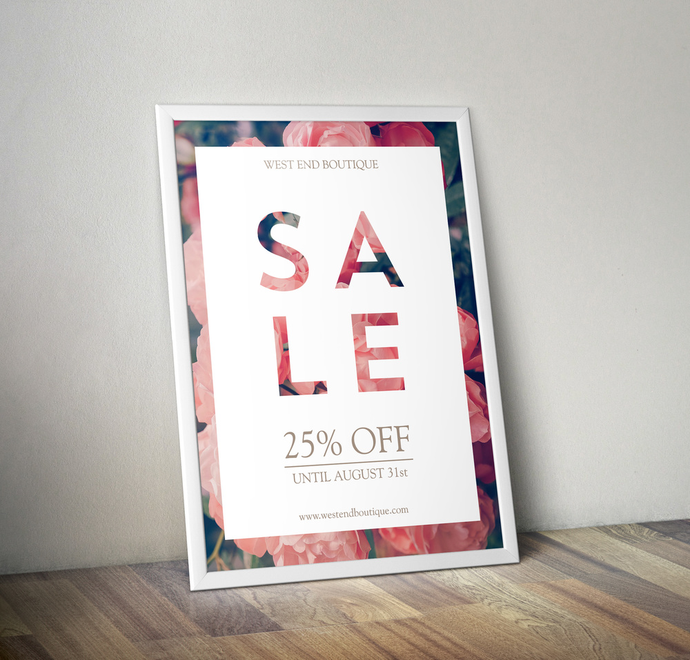 A Sale poster for a retail store.