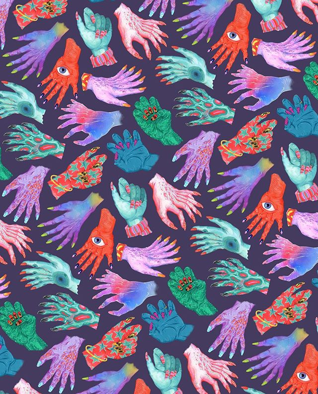 new monster manicure pattern! prints and home stuff and bags available on my @society6 shop (link in my bio) and everything is 20% off today!