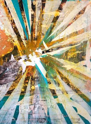 ANGELO GIOKAS As an artist coming of age at a time when the distinctions between modern art, street art and traditional art seem to be irrelevant, Angelo's paintings embody an energetic clash of aesthetic paradigms. Collage elements and painterly textures blend with heavy-handed abstraction and landscape references. The works embody his desire to cultivate raw, self-taught talent into something romantic, passionate and successful.