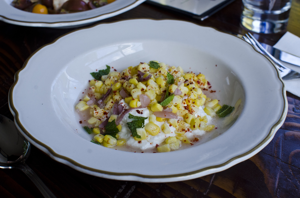 Burnett Farm summer corn with seasoned ricotta - by Brushland Eating House