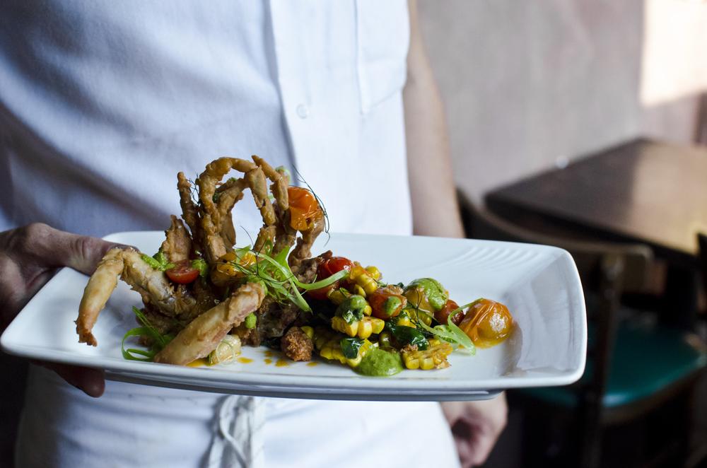 Crispy Soft Shell Crab with Blistered Cherry Tomatoes, Sweet Corn & Salsa Verde - By Montana's Trail House.