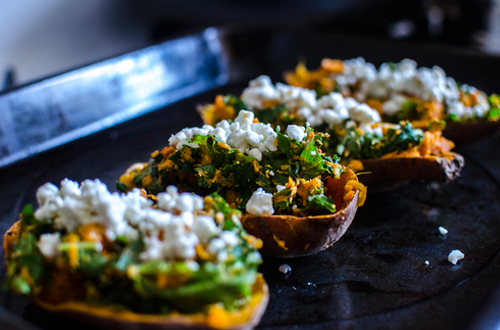 Eat: Twice baked kale & goat cheese stuffed sweet potatoes with avocado dressing
