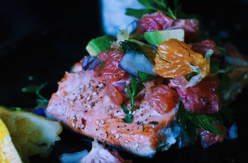 Eat: Slow roast salmon with avocado & citrus salsa
