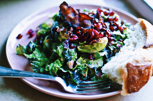 Eat: Bacon, brussels sprouts & pomegranate salal