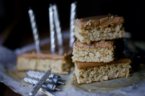 Eat: Banana & chickpea birthday blondies with salted coconut caramel fudge