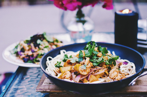 Eat: Caramelized pineapple shrimp udon with vietnamese salad.