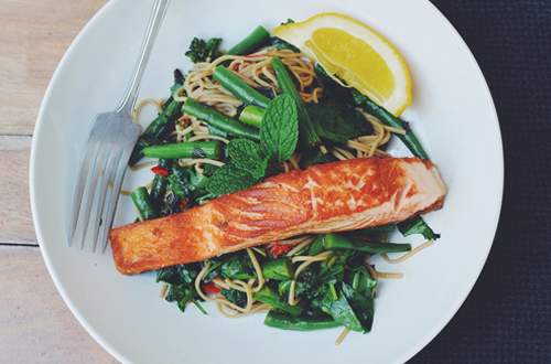 Eat: Crispy skin salmon with Asian soba noodle salad