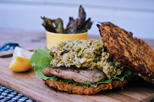 Eat: Spiced sweet potato rosti fish burgers with lemony mustard smashed peas & crispy snow pea chips