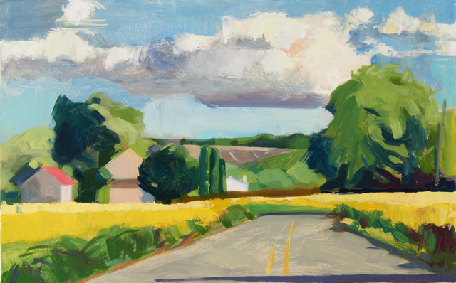 8x16 oil on panel , farm road off 422, Lou Schellenberg 2017