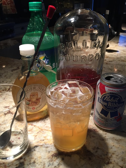 The Dandy Shandy 3 oz. Pabst Blue Ribbon 1.5 oz. Ginger Syrup 1.5 oz. Bourbon Splash of Sprite   Combine Ingredients with Ice and   Drink!