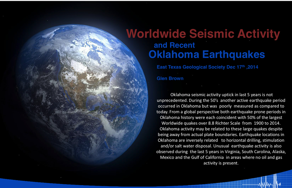 Worldwide Seismic Activity and Recent Oklahoma Earthquakes_Glen Brown_East Texas Geological Society