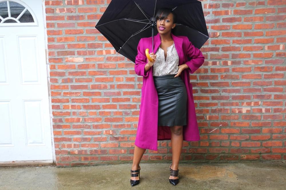 purple coat + black pumps + leather pencil skirt