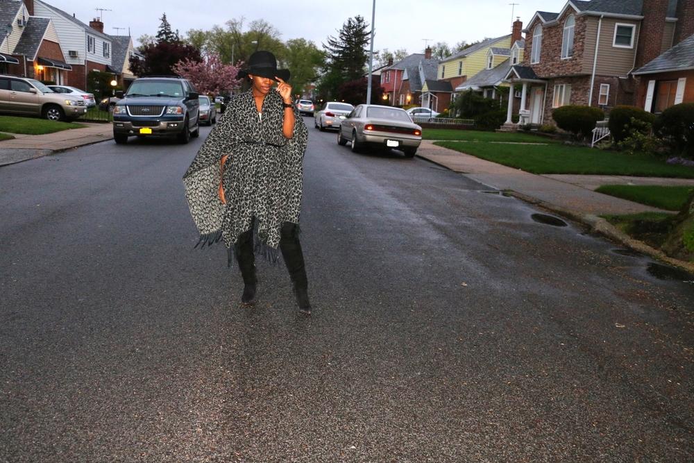 Leopard Print Cape: Old ( similar ;  similar ) | Dress: Lulu's.com | OTK Boots: Dolce Vita ( similar ;  similar ;  similar )