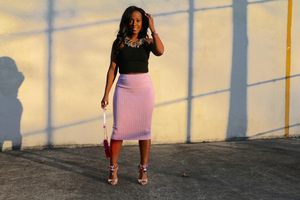 ribbed midi skirt_crop top