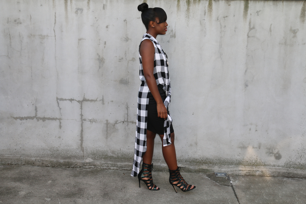 LBD and plaid vest lace-up sandals