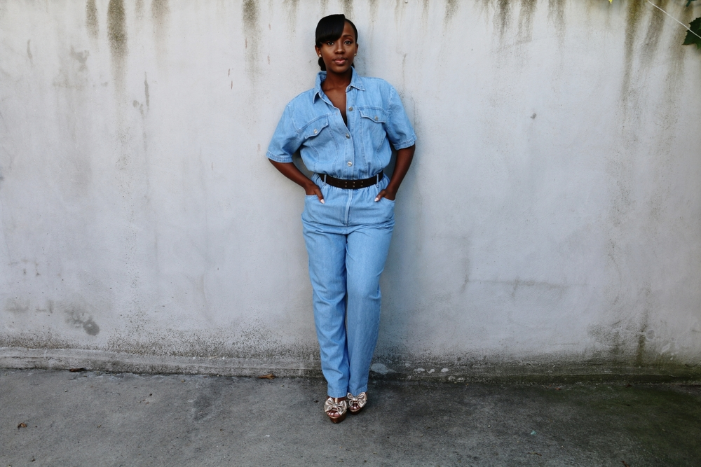Jumpsuit: Thrifted ( similar ,  similar ,  similar ) | Shoes: Charlotte Russe ( similar ,  similar ,  similar )