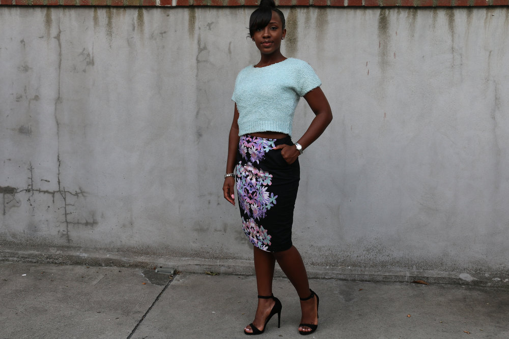 floral print pencil skirt_crop top sweater