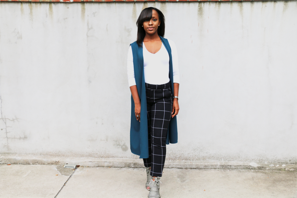 Teal vest + windowpane print