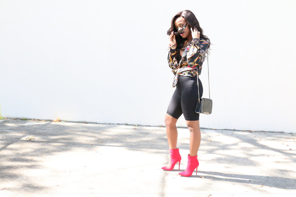 Versace print shirt red booties