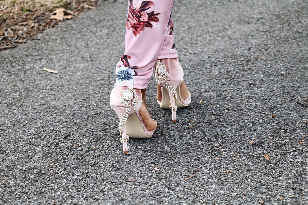 shoedazzle pink suede embellishment