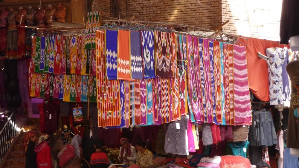 Fabric market in Kashgar, China