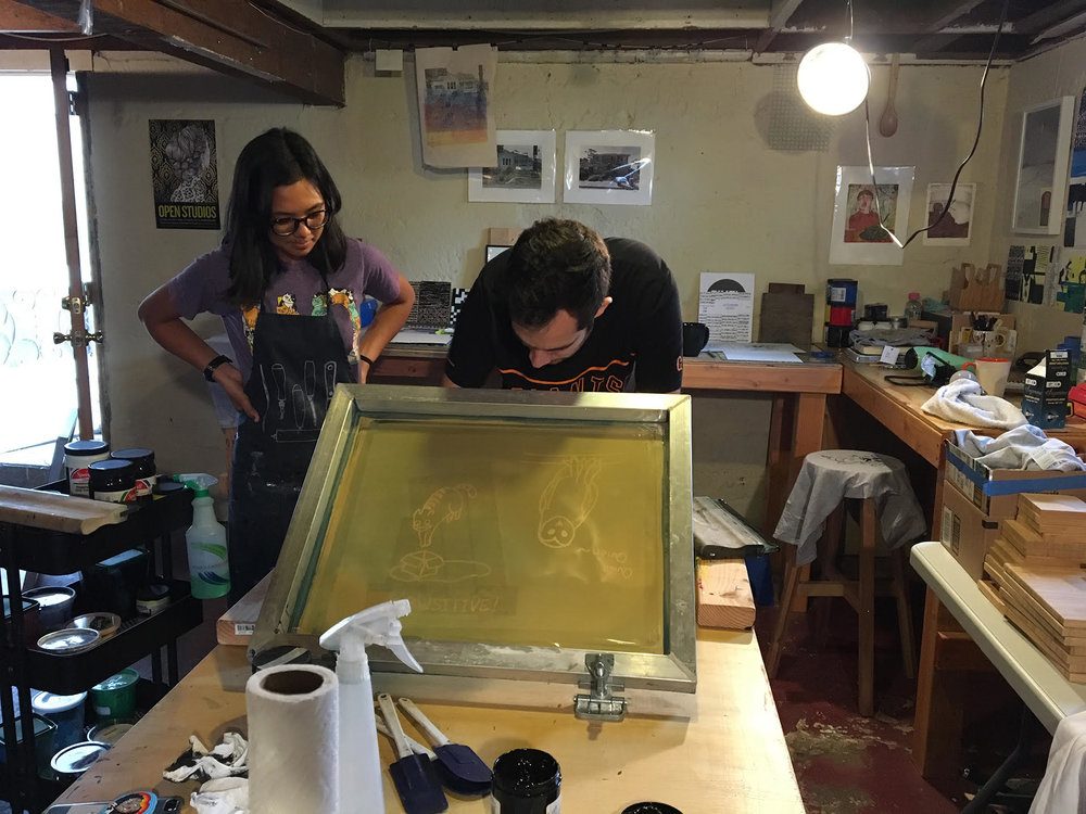 Another studio shot. Here I am teaching a high-school student from Inchelium, WA how to screen print t-shirts.