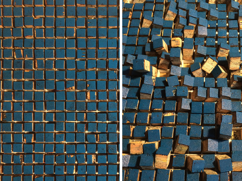 Inked plywood blocks placed into a fluorescent light grid from Home Depot. Before and after a print was pulled.