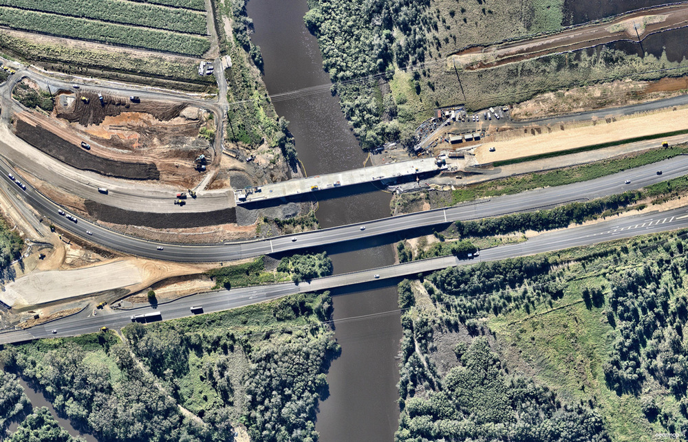 sample of nearmap imagery showing construction progress at the Ballina end of the Project.