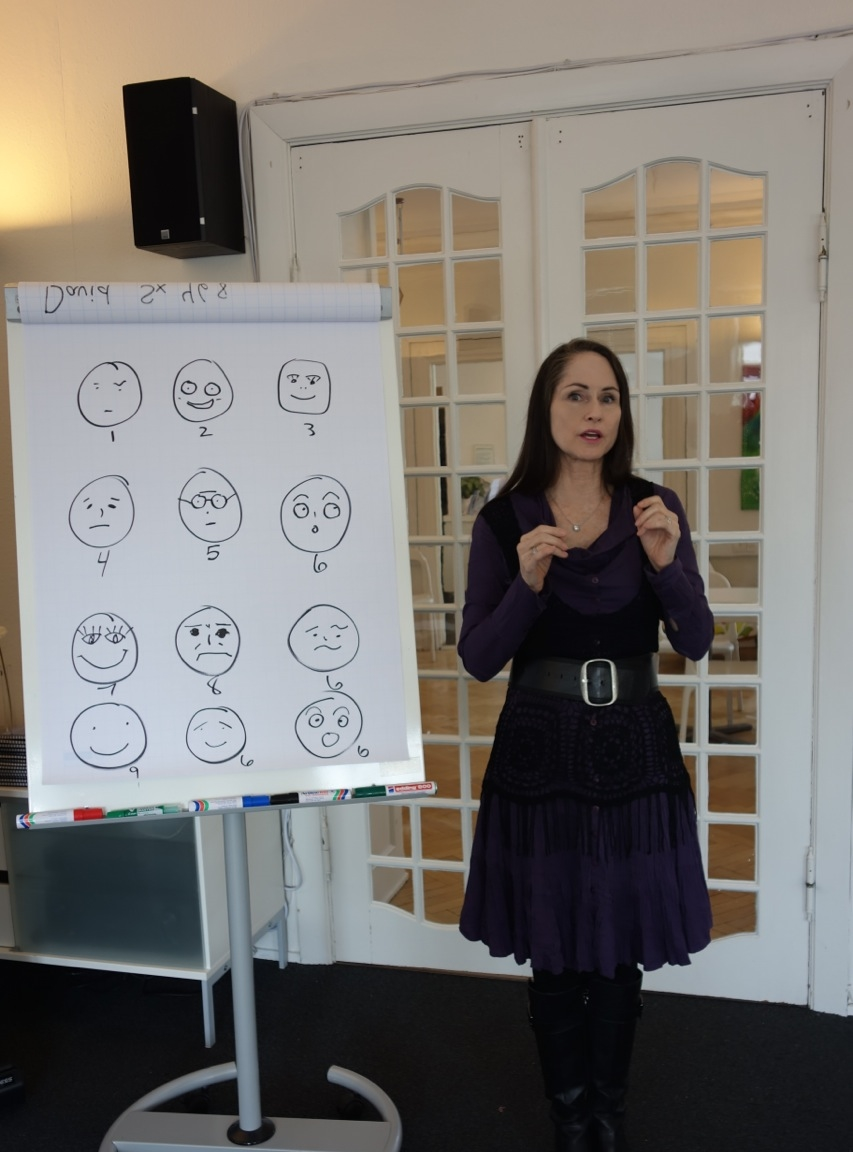 Katherine teaching the Enneagram types' most common expressions
