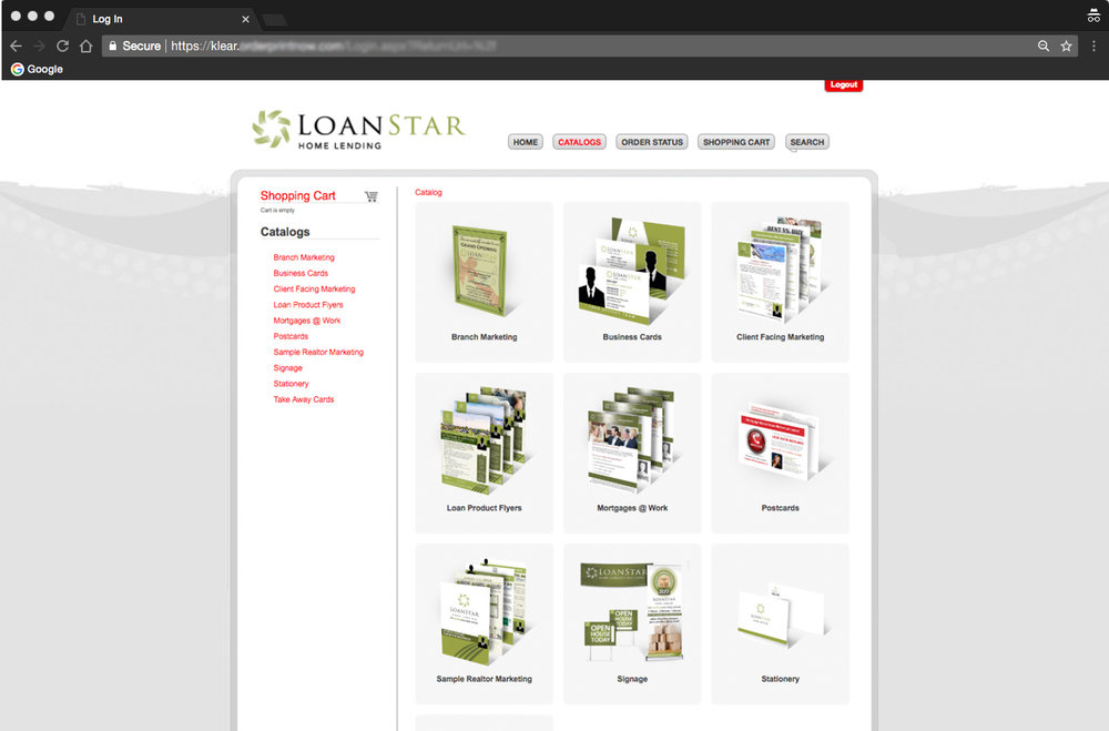All print media, kits, and products were carried over to a custom web-to-print portal. Special to LoanStar was pre-loading of information. Simplicity, and ease of use for any agent using the site was key. Instead of having to manually fill-out contact info and headshots, the user simply choose themselves under a dropdown menu. Once clicked, all their provided info was populated into the document and the user was ready to go.