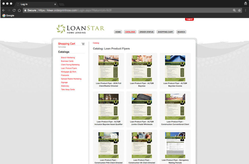 Product flyers with new branding added to the web-to-print portal.
