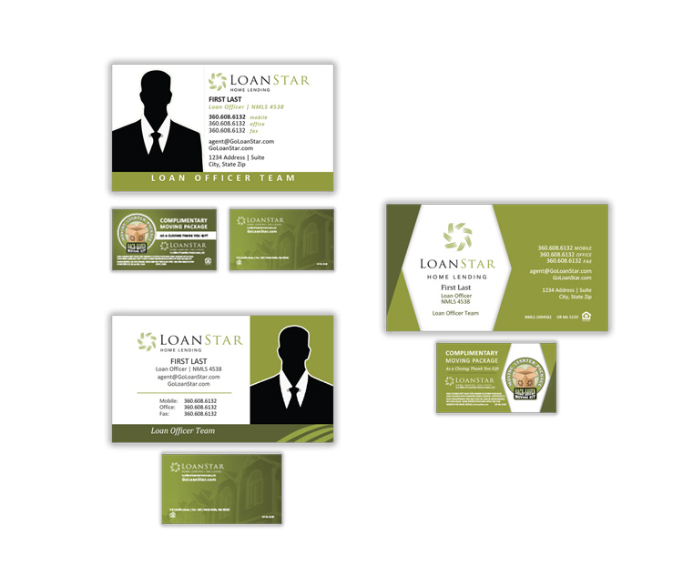 The same branding treatment was carried to business cards. Three versions were selected, giving users the option to choose from 2 options for cards with headshots, and 1 without. Users could also choose from up to two back graphic options.