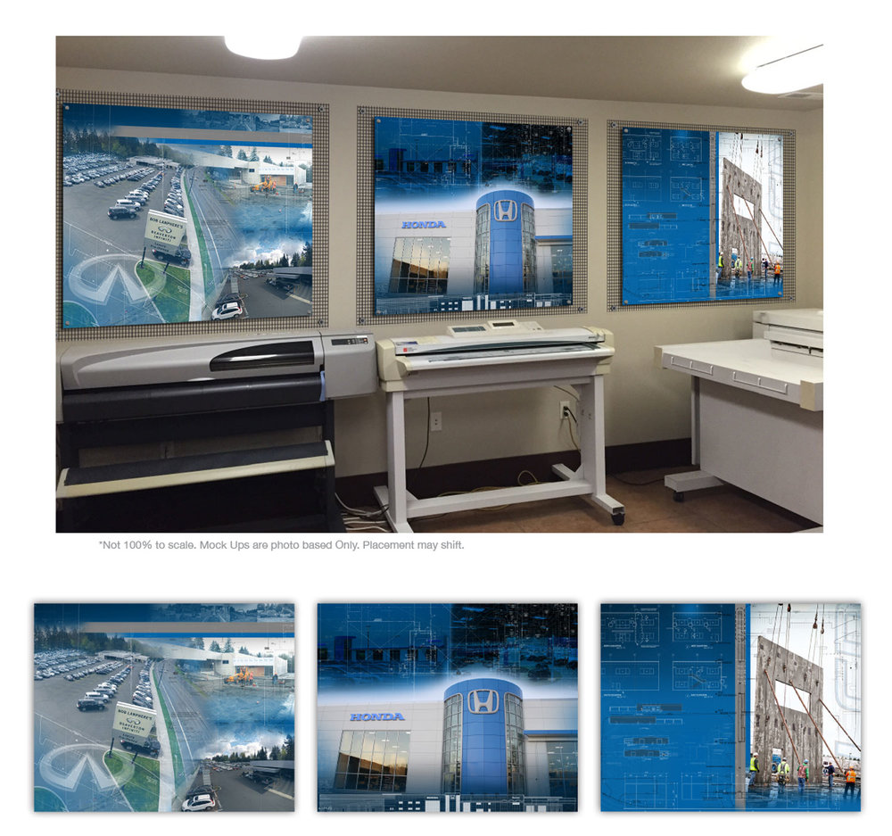 Printing Room Stand-Offs -  Three panels with custom graphics utilizing LCD's very own blueprints and photography. Direct printed to Sintra, and mounted to metal grating which was mounted to the wall. Creating a layered graphic, echoed by a layered mount.