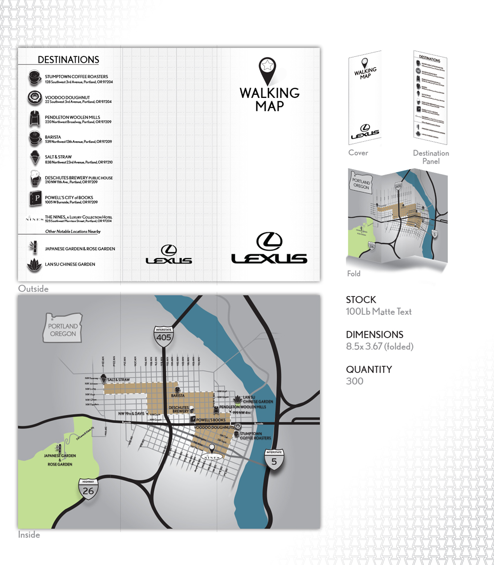 "Walking map -  A custom map, and icon collection was created for a unique print piece guiding visitors around Portland hotspots. Loose branding used elsewhere in the project tied this piece in to the overall look of the event. Details had to be detailed and upfront as the client was ""hands-off"" from the actual event."